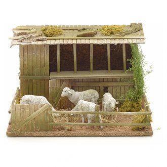 Establo con ovejas en movimiento 14x5x23x20cm | venta online en HOLYART