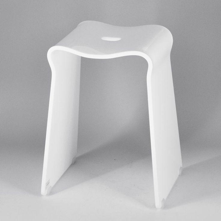 vierkante vorm eenvoudig ontwerp met kleine witte badkamer plastic kruk