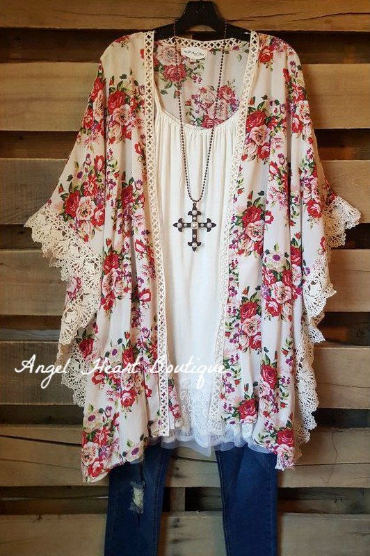 $45 Floral Romance Cardigan - White - Umgee - Cardigan - Angel Heart Boutique