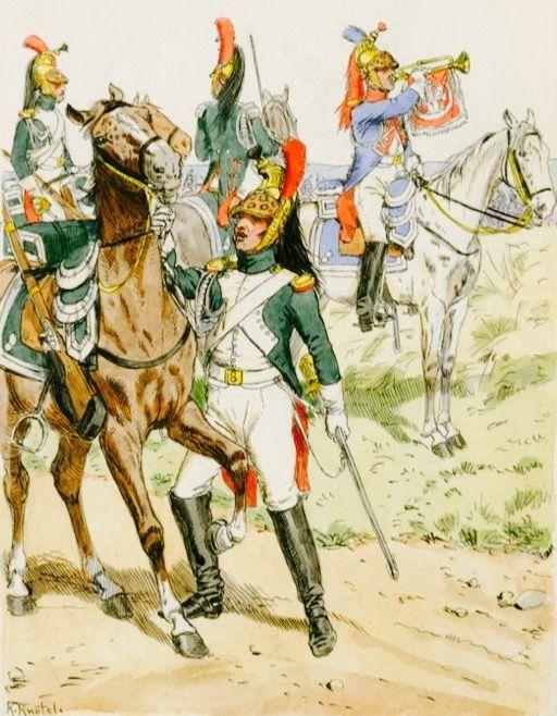 Dragoni, ufficiale e tromba del regno d' Italia