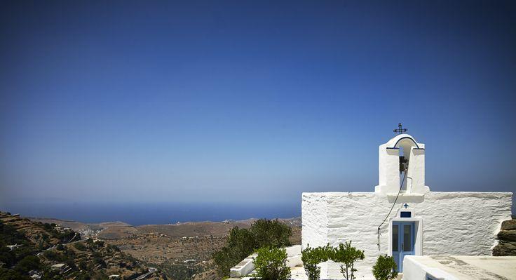 The Taksiarchon Chapel at Villa Lefkothea overlooking the Aegean Sea