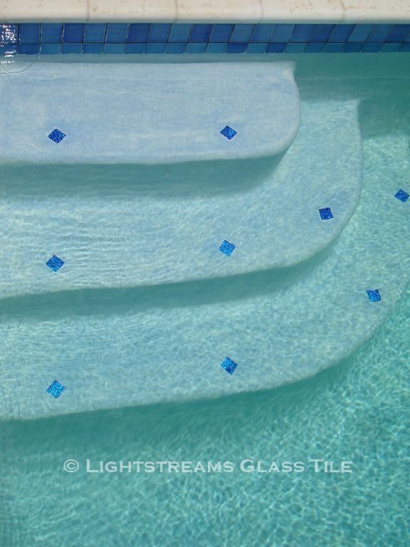 Lightstreams Glass Tile Pool Step Tile Marker Examples