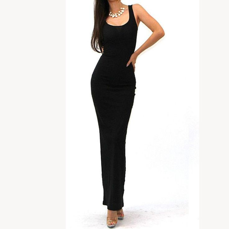Brief Style Design Women Stretch Long Maxi Summer Dresses Minimalist Casual Solid Sleeveless Tank Sheath Slim Grown Dress 801