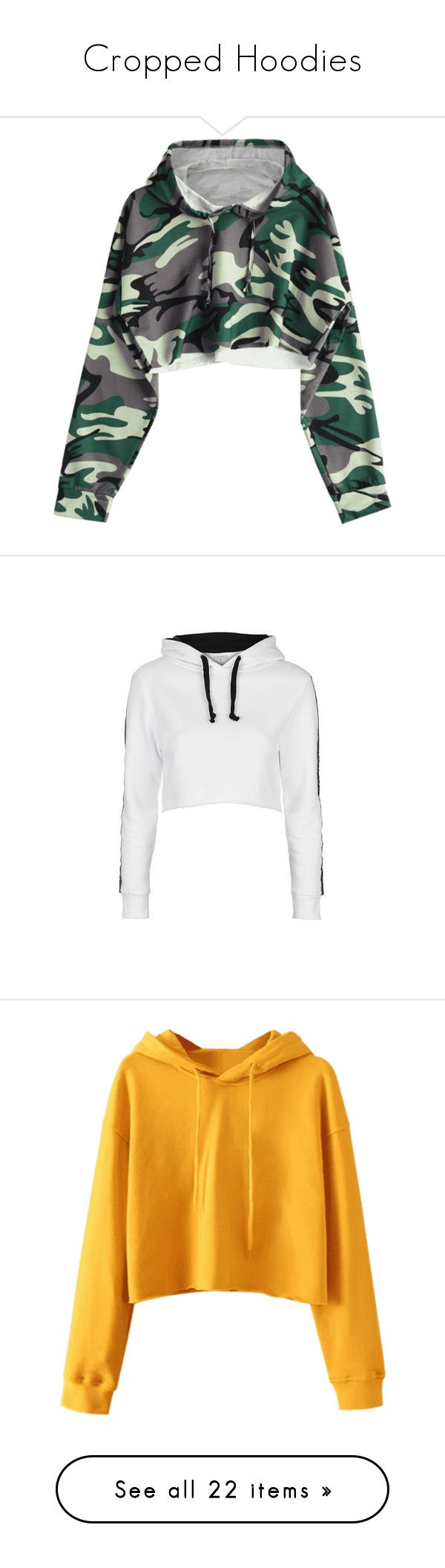 """""""Cropped Hoodies"""" by miniboogie ❤ liked on Polyvore featuring tops, hoodies, hoodie crop top, camo cropped hoodie, green crop top, green hoodies, cropped hoodies, jackets, shirts and sweaters"""