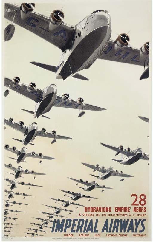 "Imperial Airways, 28 hydravions ""Empire"" neufs (c. 1937). Artist: Albert Brenet"