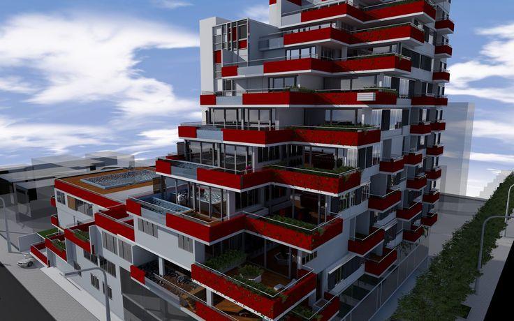 Projecto de um edificio multifuncional de 12 pisos acima do nivel terreo e 3 abaixo funcionando como estacionamento, num terreno localizado na cidade de Maputo, Mozambique