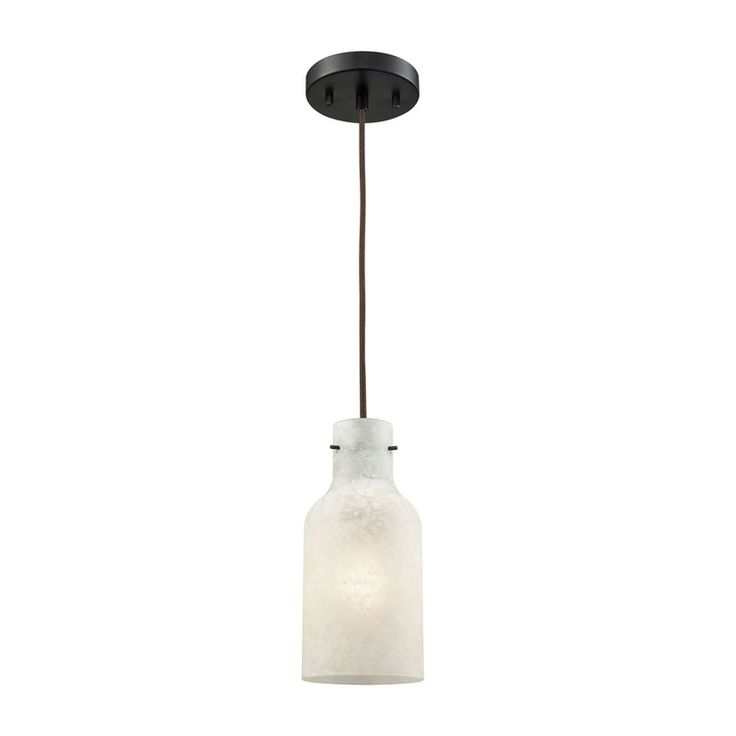 elk weatherly 1 light pendant in oil rubbed bronze with chalky white glass includes recessed lighting kit pendant item number