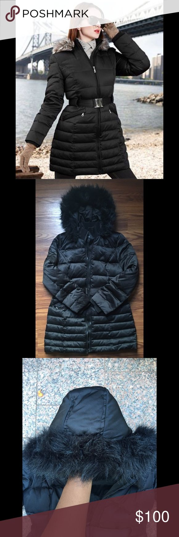 DKNY Winter Puffer Coat Polyester Down Coat.  Faux Fur Trim  Warm and Cozy Perfect for upcoming winter months Great Condition  No rips, tears, stains or holes  Tags: DKNY, Zara, Michael Kors, Calvin Klein, Bebe, Puffer coat, Down coat, winter coat, winter jacket, Zara Jackets & Coats Puffers