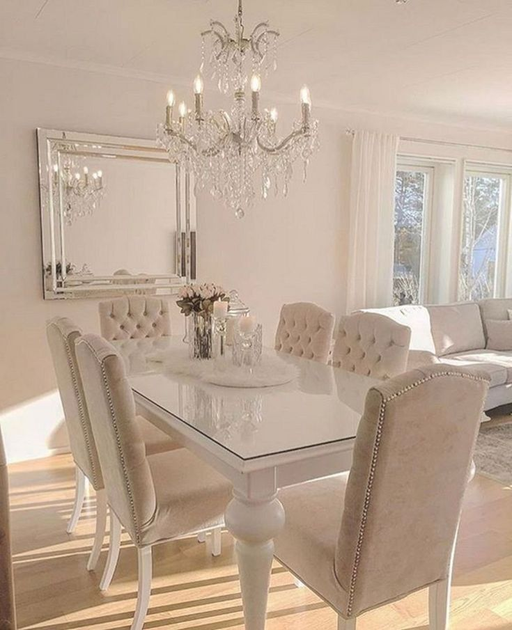 طاولة طعام بيضاء غاية الفخامة Dining Room Design Beautiful Dining Rooms Dining Room Cozy
