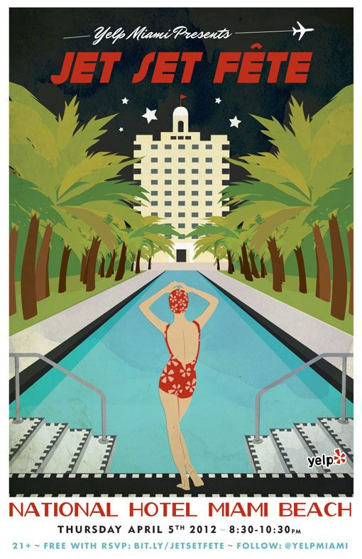 Jessica Taich: Illustrations Posters, Jessica Taich, Events Posters, Travel Photo, Beaches Posters, Jets Sets, Miami Beaches, Art Deco, Vintage Travel Posters