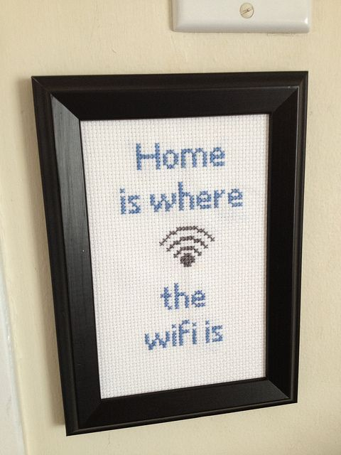 """Home is Where the Wifi Is"" Cross Stitch"