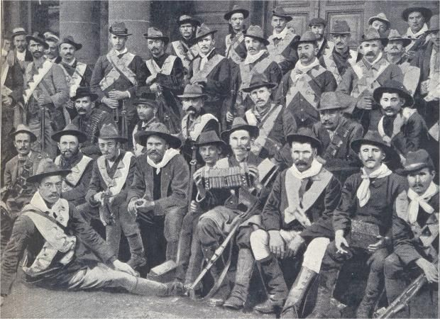 A brigade of Irish volunteers who supported the Boers in the Anglo-Boer war, 1899. This is the earliest known photograph of an Irish concert...