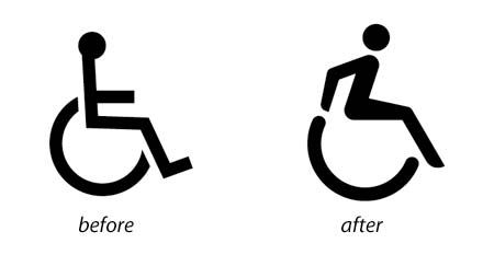 Before and after disability symbol :: I love this - I wish it had multi-colored streamers flying off the back of the chair. Disability awareness, special needs, wheelchair sign, CanDoYoga.net