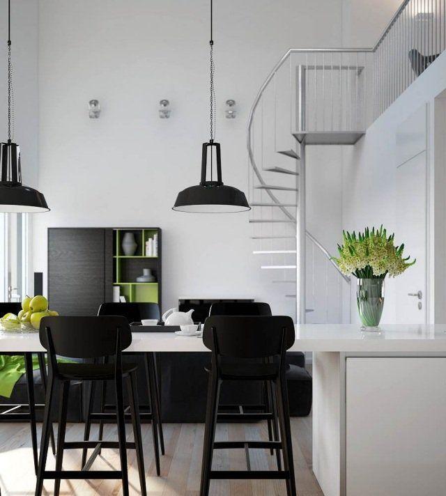 idées d'aménagement et déco mezzanine en noir et blanc
