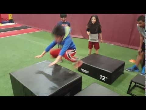 One of our youngest Jump Start athletes, Cade, showing his explosiveness with a 24 inch box jump!  #Parisi #Speed #School at #HealthQuest in #Flemington #NJ Speed and #Strength #Training for #Sports