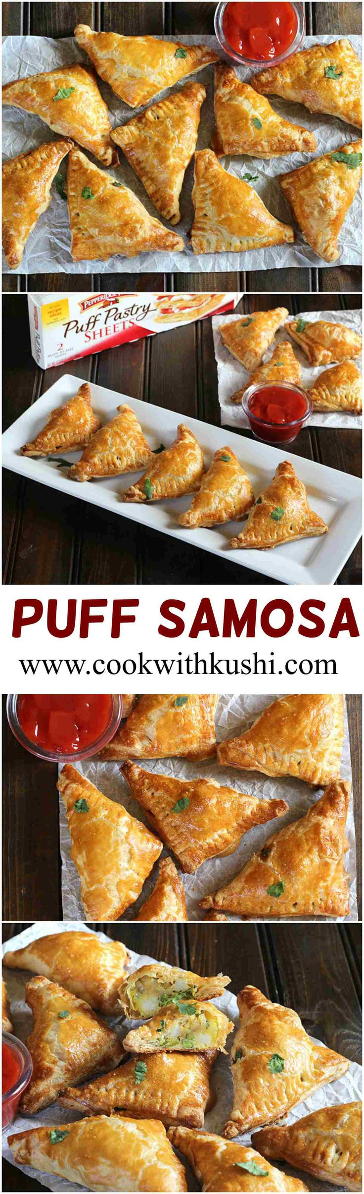 Puff Samosa is a easy to make delicious appetizer with the crispy and golden flaky texture on the outside with a savory filling on the inside. This is a perfect finger food for your holiday gatherings, your next weekend party or any game night. #InspiredByPuff #ad @PFPuffPastry #sponsored #appetizer #snack #bake #vegan #delicious #fingerfood #fall #Holiday #halloween #thanksgiving #christmas