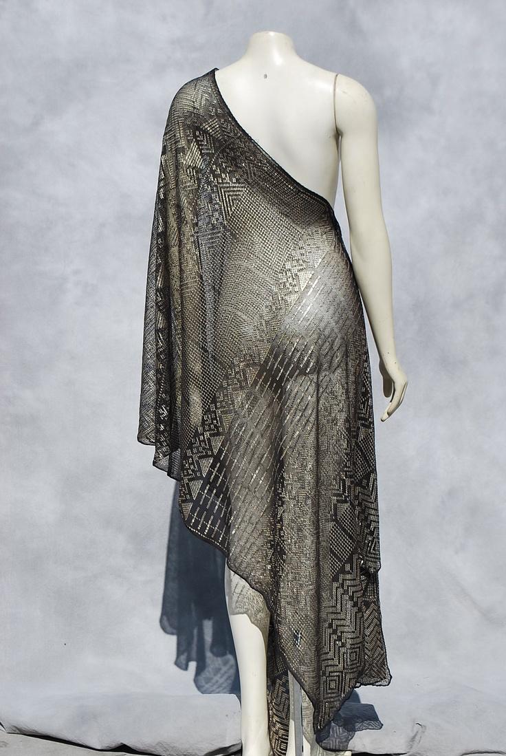 Vintage egyptian ASSUIT scarf art deco silver scarf shawl