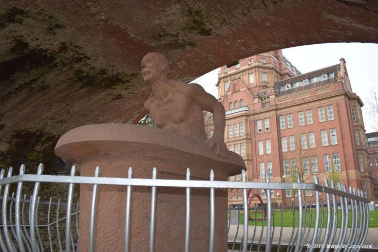 This statue of Archimedes and his Eureka moment was erected by the University of Manchester Institute of Science and Technology (UMIST) in September 1990. It is one of a series of science inspired sculptures near to UMIST's student union building.
