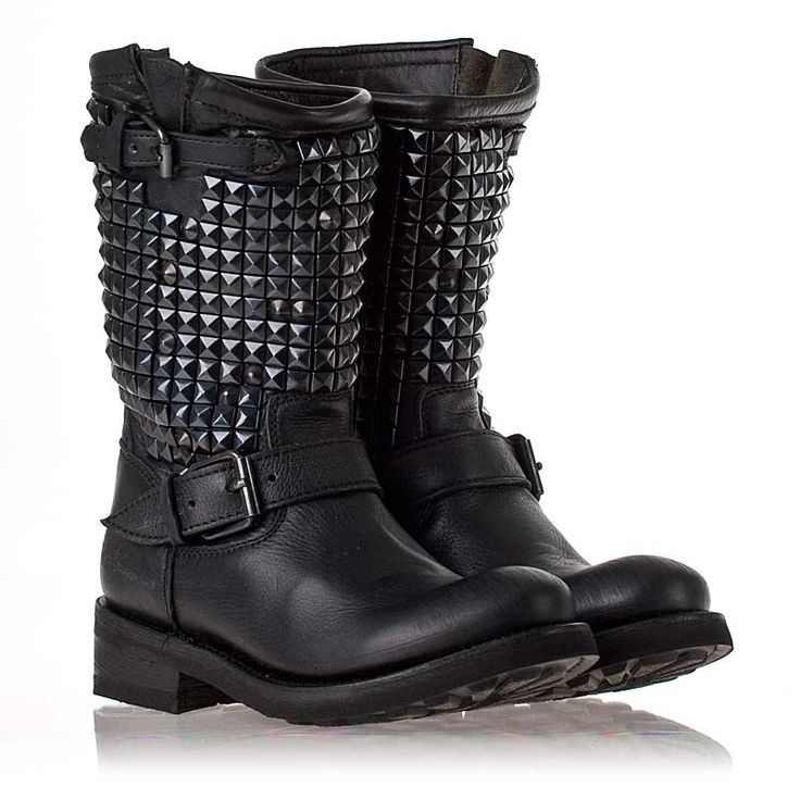 Some day I will buy these for myself.  Womens Trash Biker Boot Black Leather/Black Studs  312294