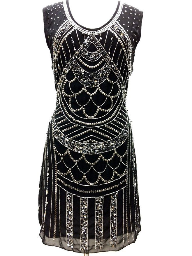 1920 39 s style gatsby tunic top evening embellish shift dress vintage dress us18 gatsby. Black Bedroom Furniture Sets. Home Design Ideas