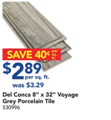 "Shared from Flipp: Del Conca 8"" x 32"" Voyage Grey Porcelain Tile in the Lowe's flyer"