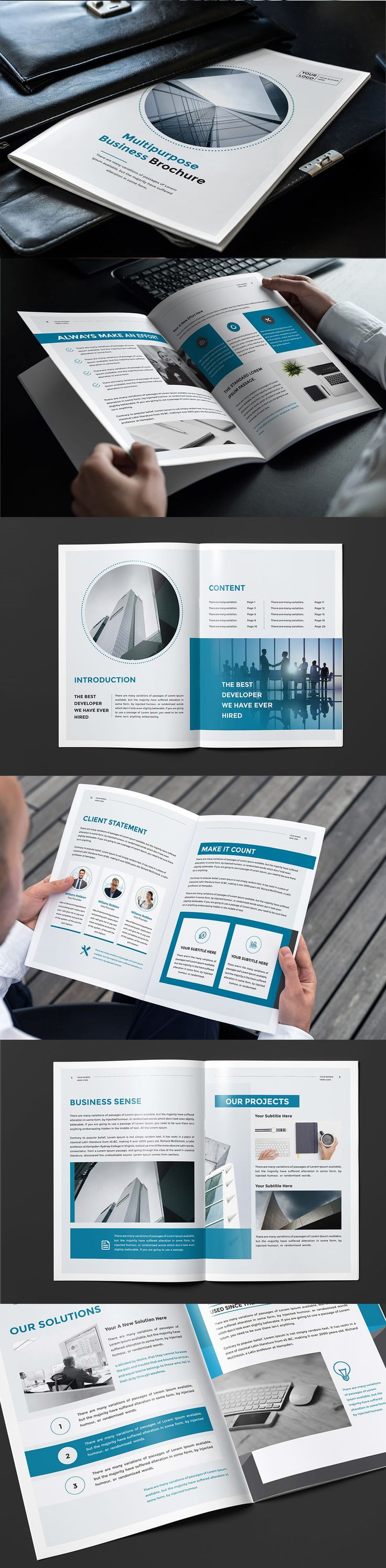 Blue Business Brochure Template InDesign INDD