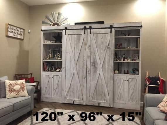 Entertainment Center Made Of Reclaimed Rustic Pine Barn Wood With Sliding Barn Doors Made To Order Rustic Entertainment Center Wood Entertainment Center Barn Wood