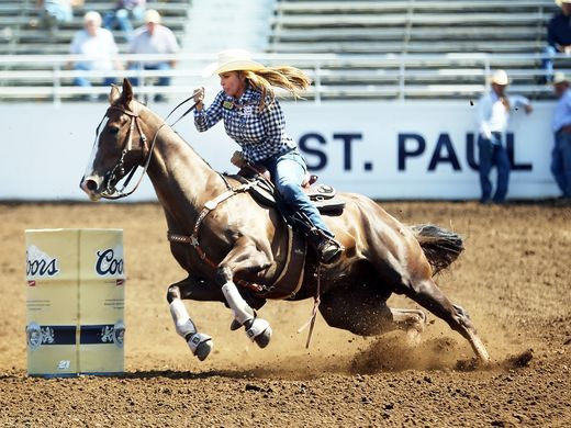"Barrel racer Darcy LaPier from Newberg is a former actress and model, and ex-wife of Jean-Claude Van Damme. She now hosts a reality show, ""Rodeo Girls"" on A&E, and competes at the St. Paul Rodeo."