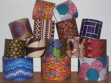 Handmade African Print Fabric Lampshades contemporary-lamp-shades