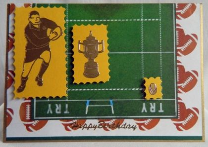 """For the rugby fans. Peel offs layered on a rugby pitch.  6"""" x 4.25""""  15 cm x 11cm"""