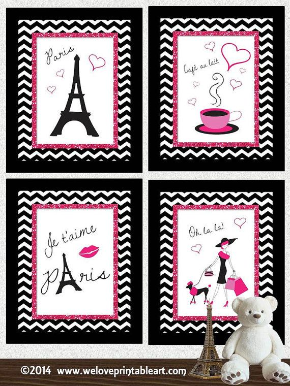 Paris Decor Print Childrens Bathroom Art by WeLovePrintableArt, Paris Decor Print