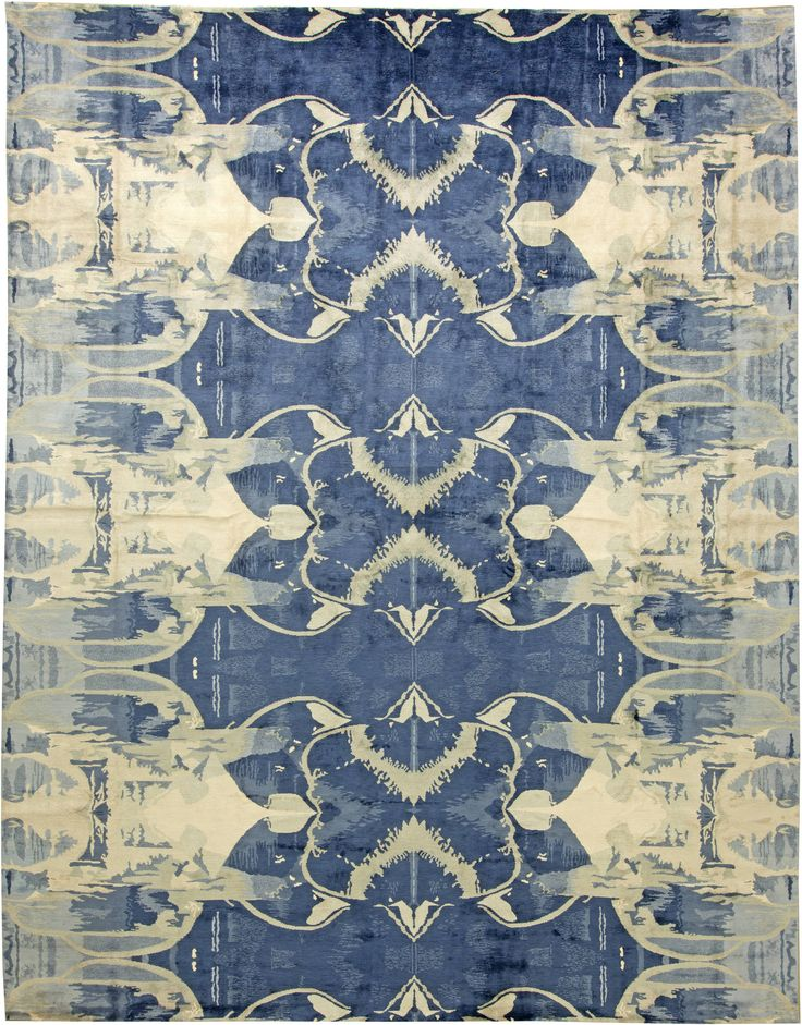 Contemporary Rugs: Contemporary rug in blue, modern style perfect for modern interior decor, modern living room, geometric pattern rug