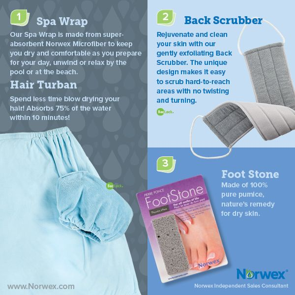 Norwex (1) Spa Wrap and Hair Turban, (2) Back scrubber, (3) Foot Stone. For Facebook parties, online events and marketing.