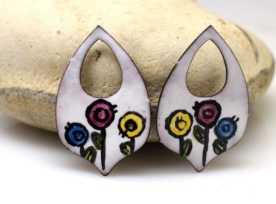 Enameled copper boho earrings copper earrings enameled copper jewelry making copper jewelry jewelry component enameled jewelry pair