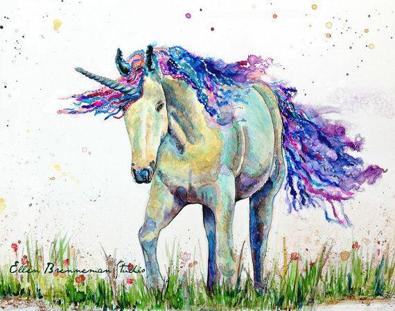 Unicorn art print - Eenhoorn kunst, prinses decor, unicorn tranen kunst, unicorn kunst aan de muur, magical unicorn, kleurrijke unicorn kunst,