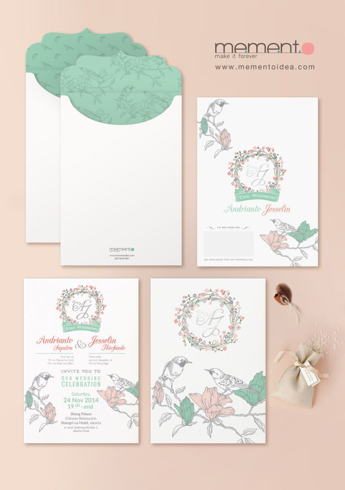 827 best wedding invitations images on pinterest wedding watercolor wedding invitation idea soft coral mint green by memento idea http stopboris Images