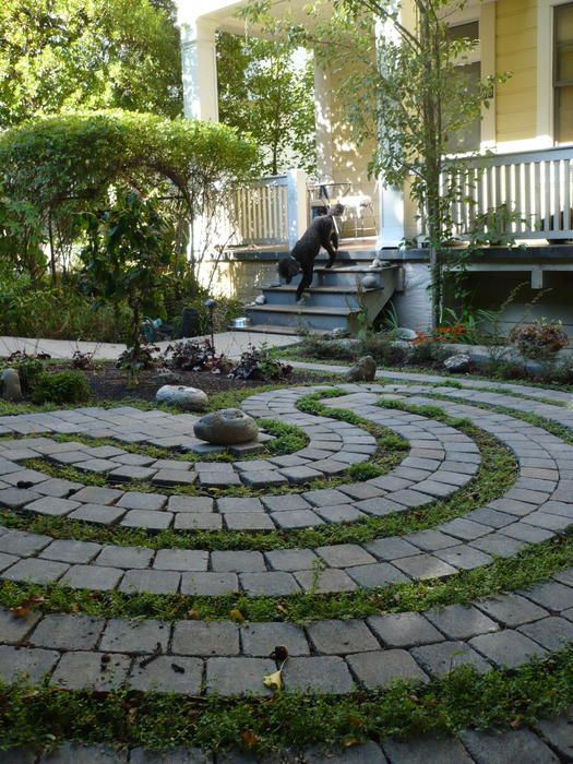 Garden labyrinth with pavers and grass