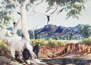 51 ALBERT NAMATJIRA (1902 – 1959) GHOST GUM AND WATERHOLE, c1956 watercolour on paper 25.0 x 35.0 cm signed lower right: ALBERT NAMATJIRA $25,000 - 35,000