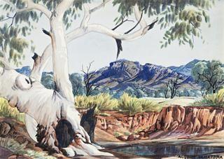 51 ALBERT NAMATJIRA (1902 – 1959) GHOST GUM AND WATERHOLE, c1956 watercolour on paper 25.0 x 35.0 cm signed lower right: ALBERT NAMATJIRA $25,000 - 35,000