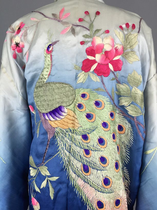 Vintage Silk Kimono Embroidered Peacock Japanese Embroidery - ThisBlueBird