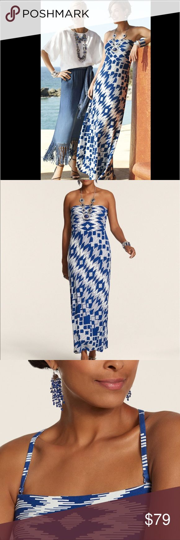 CHICO'S MAXI DRESS Very attractive blue and white maxi dress with adjustable straps or wear strapless. Rayon with a touch a spandex. Very comfortable, wash and wear. Chico's size 3. Chico's Dresses Maxi