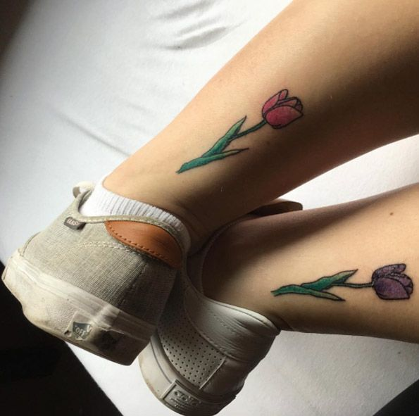 Matching tulip tattoos via Ebony189