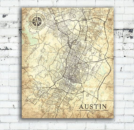 AUSTIN TX Canvas Print Texas TX Vintage map Austin tx City Map Wall