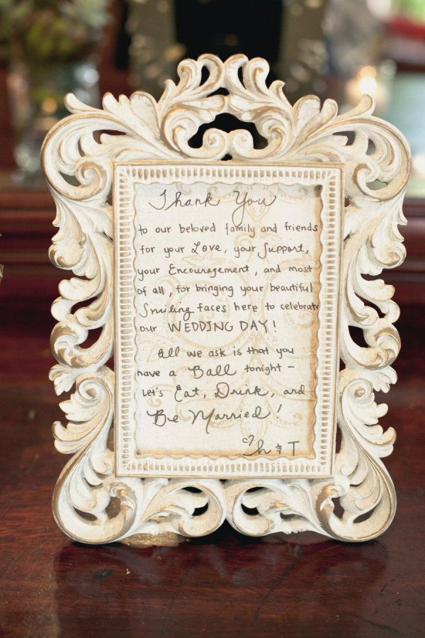 a sweet note to guests