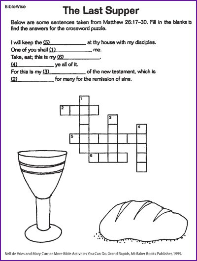 The Last Supper (Jesus Crossword) - Kids Korner - BibleWise