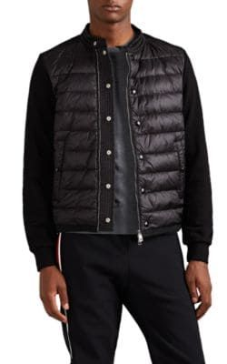 304567721 MONCLER DOWN-QUILTED COTTON ZIP-FRONT SWEATER - BLACK SIZE XXL ...