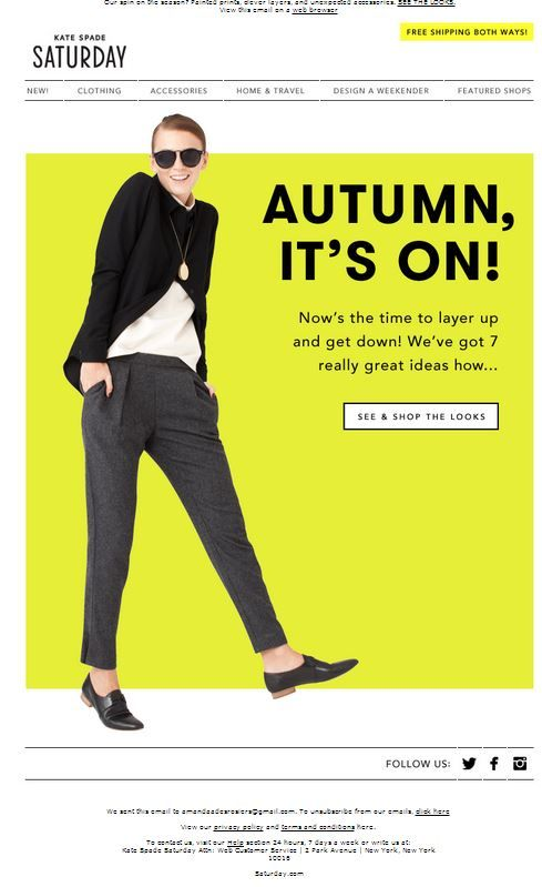 Kate Spade fall email.