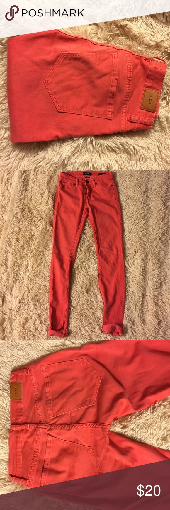 BDG red skinny jeans BDG red skinny jeans. Mid-rise twig ankle. These are in great condition. Size 24 x 29 length. These are. Red fade color. Urban Outfitters Pants Skinny