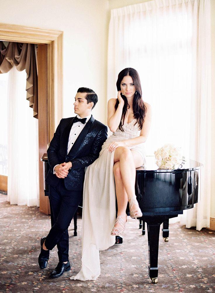 Elegant bride and groom wedding fashions.