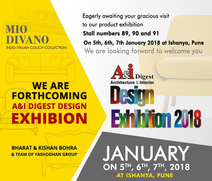 Visit A&i Digest Exhibition For Best Indo Italian Couch Manufacturers & Home Decor Service in Pune on 5th, 6th & 7th January 2018 stall no. 89, 90 & 91 @ Ishanya Mall, Pune.  #sofa #couch #IndoItalianCouch #HomeDecorPune #CustomizedSofa #Pune #puneinstagrammer  #yerwada #ishanyamall #puneexhibition #PuneCity #Hadpasar #PuneExhibition2018 #PuneUpcomingEvents #PuneDiary #Baner #Aundh #PimpriChinchwad #PCMC #Furniture #PuneInteriorDesigner #PuneBuilders